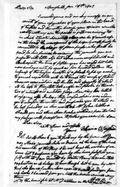 Thomas B. Craighead to Andrew Jackson, January 14, 1803