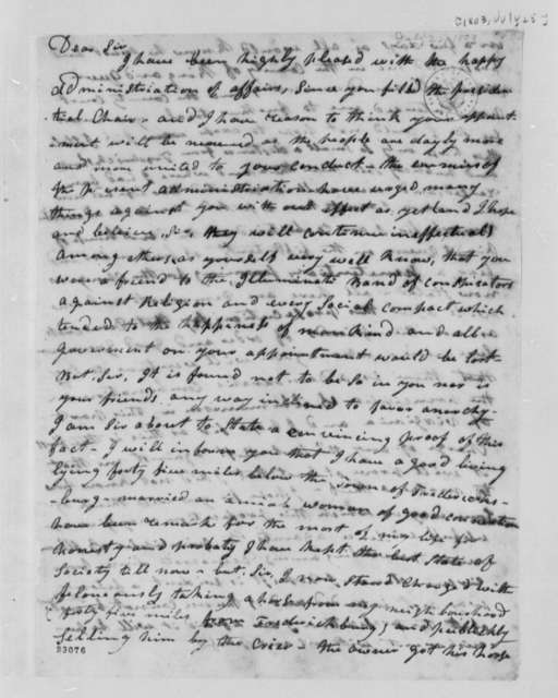 Thomas Bridges to Thomas Jefferson, July 25, 1803, with Jefferson's Notes Regarding Bridge's Charges
