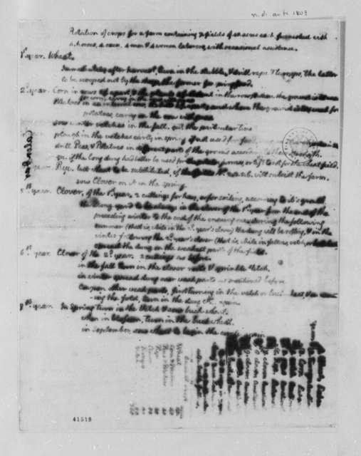 Thomas Jefferson, 1803, Notes on Crop Rotation