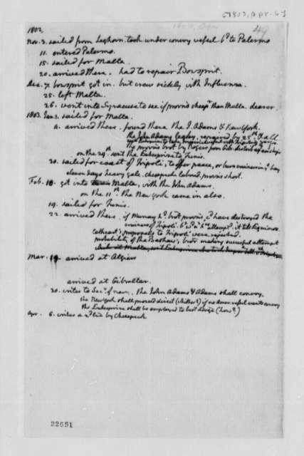 Thomas Jefferson, April 6, 1803, Time Line and Notes on Mediterranean Squadron