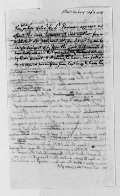 Thomas Jefferson, March 1803, Notes on Muhlenberg's Court Martial
