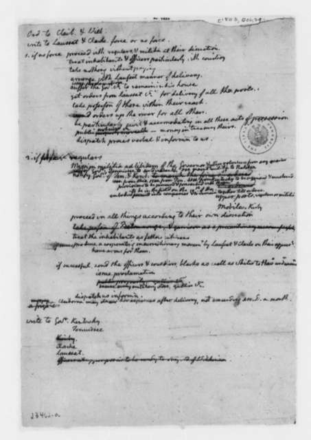 Thomas Jefferson, October 29, 1803, Notes on Louisiana Territory