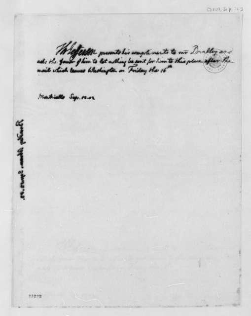 Thomas Jefferson to Abraham Bradley, September 12, 1803