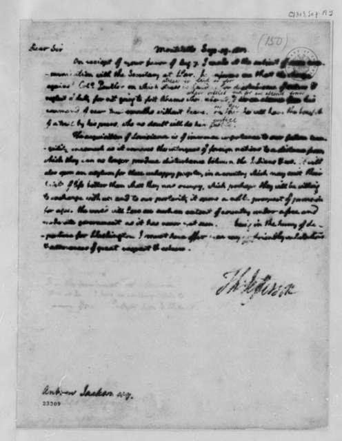 Thomas Jefferson to Andrew Jackson, September 19, 1803