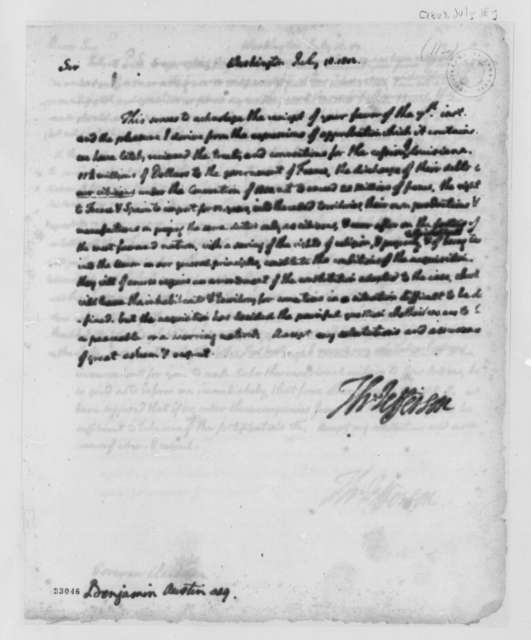 Thomas Jefferson to Benjamin Austin, Jr., July 18, 1803