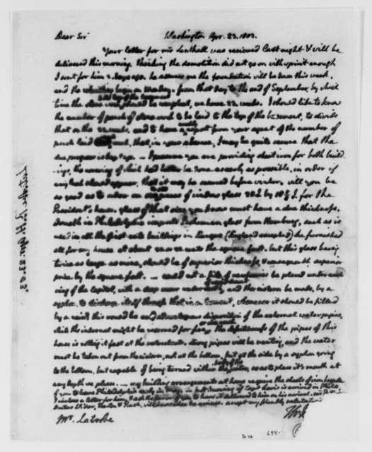 Thomas Jefferson to Benjamin H. Latrobe, Surveyor of the Public Buildings, April 23, 1803