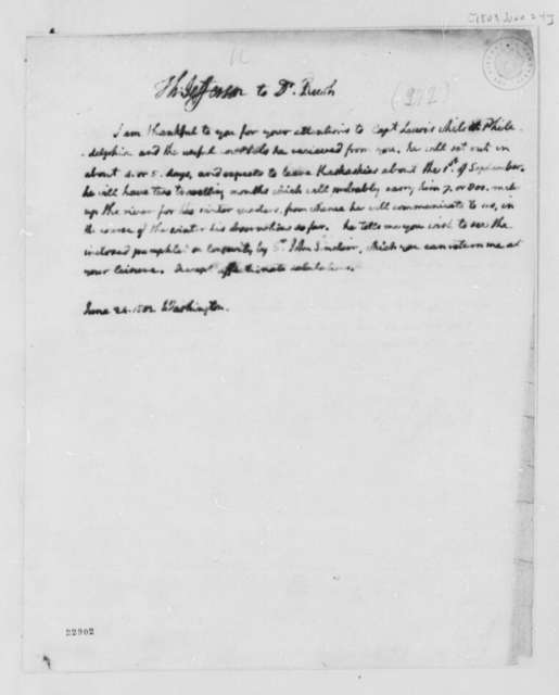 Thomas Jefferson to Benjamin Rush, June 24, 1803
