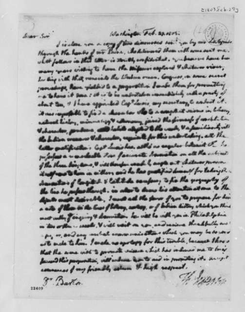 Thomas Jefferson to Benjamin Smith Barton, February 27, 1803