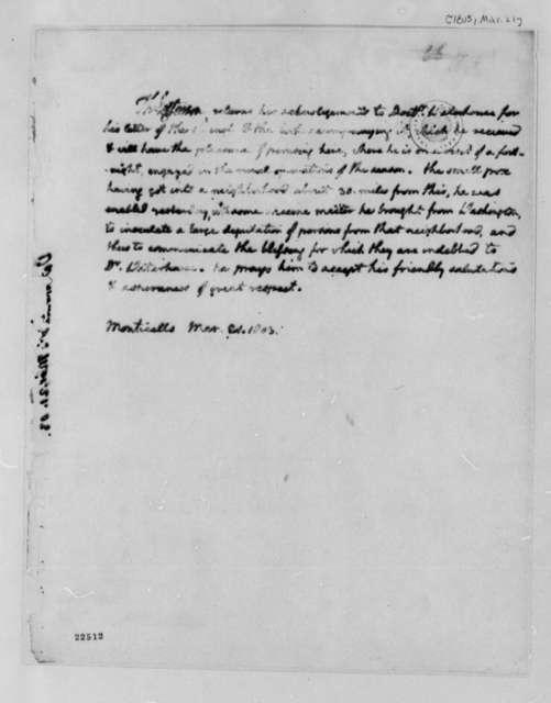Thomas Jefferson to Benjamin Waterhouse, March 21, 1803