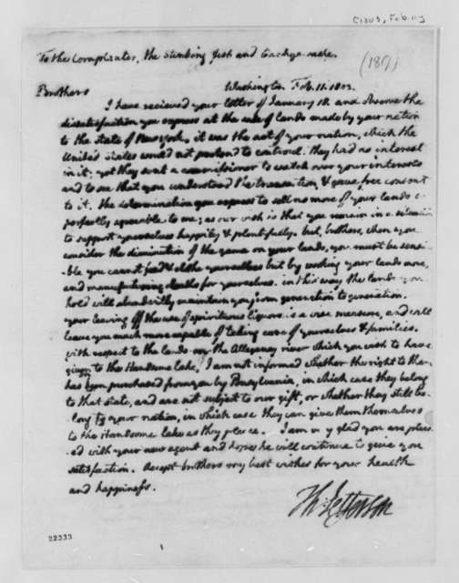 Thomas Jefferson to Chief Cornplanter, et al, February 11, 1803