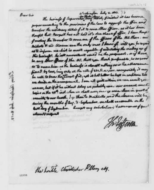 Thomas Jefferson to Christopher Ellery, July 2, 1803