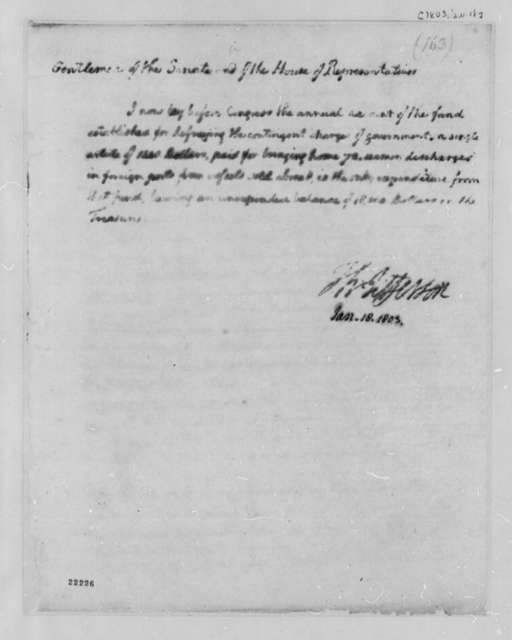 Thomas Jefferson to Congress, January 18, 1803