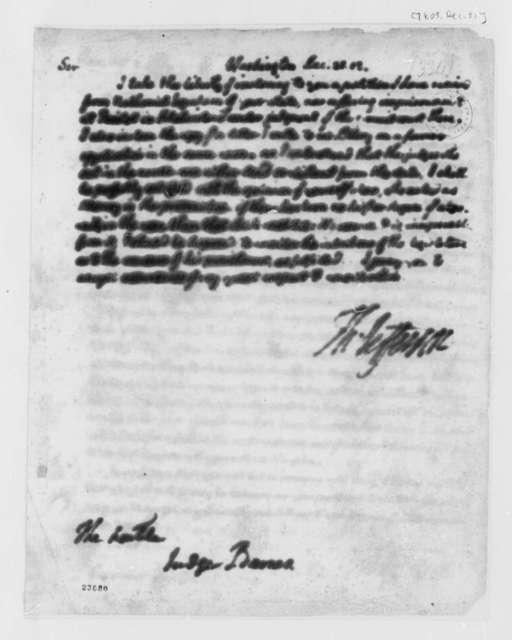 Thomas Jefferson to David Leonard Barnes, December 31, 1803