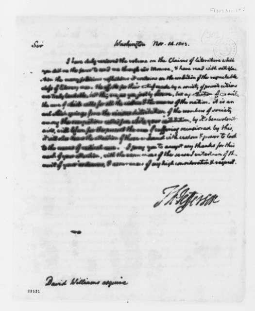 Thomas Jefferson to David Williams, November 14, 1803