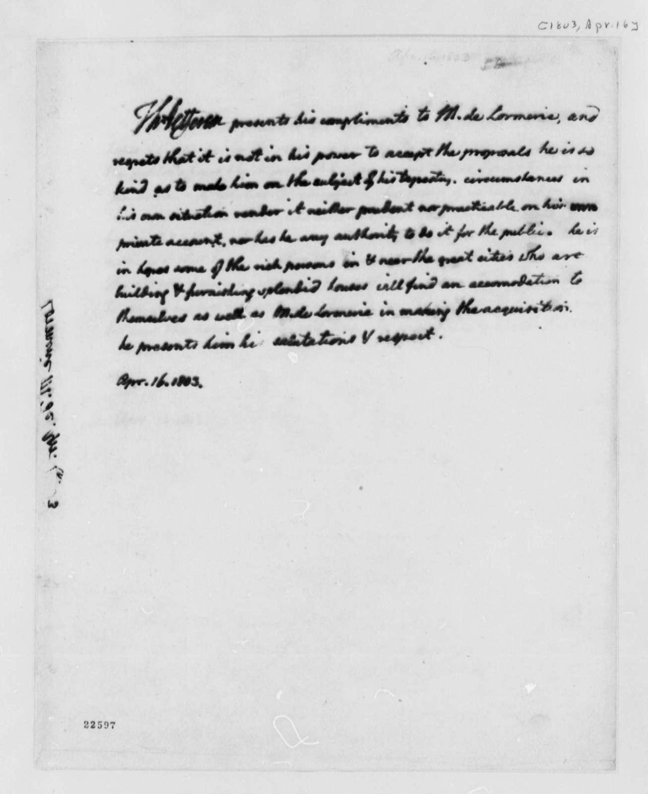 Thomas Jefferson to De Lormerie, April 16, 1803