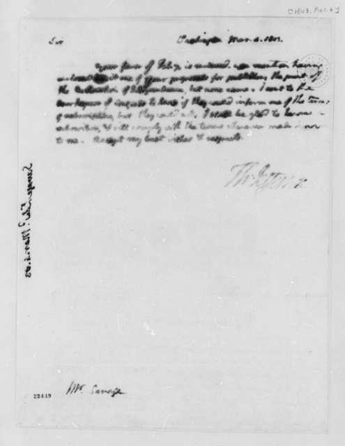 Thomas Jefferson to Edward Savage, March 4, 1803