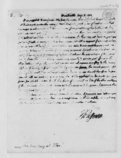 Thomas Jefferson to Henry Dearborn, August 8, 1803