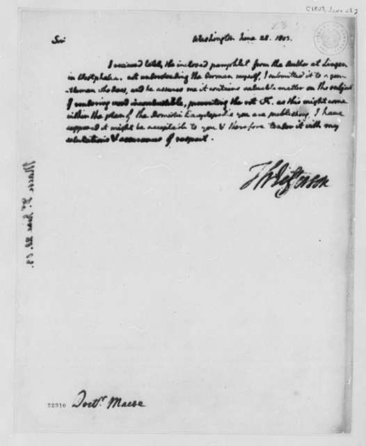 Thomas Jefferson to James Mease, June 28, 1803