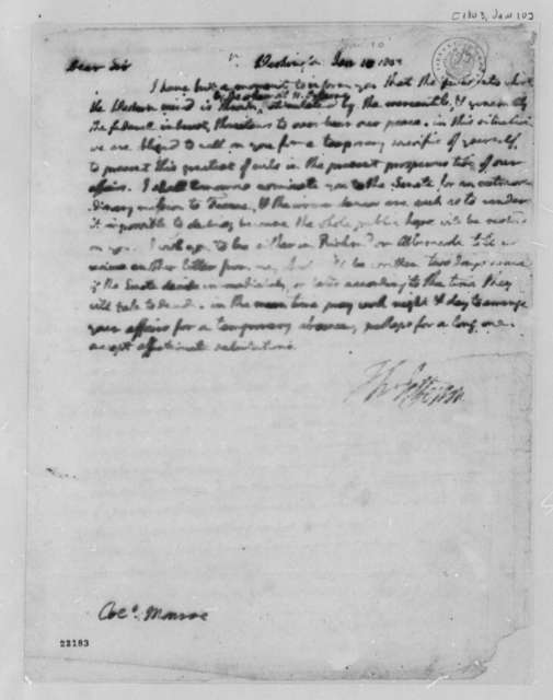 Thomas Jefferson to James Monroe, January 10, 1803