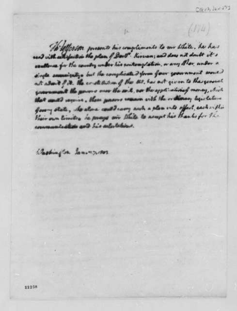 Thomas Jefferson to John Campbell White, January 27, 1803