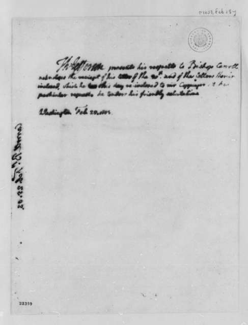 Thomas Jefferson to John Carroll, February 25, 1803