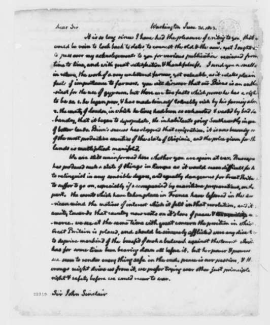 Thomas Jefferson to John Sinclair, June 30, 1803, with Copy