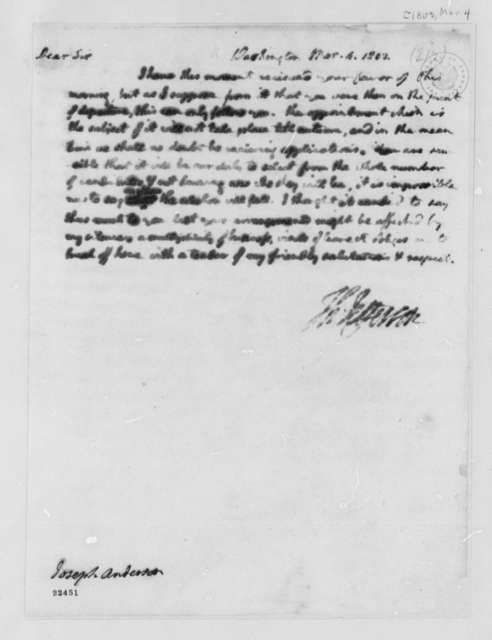 Thomas Jefferson to Joseph Anderson, March 4, 1803
