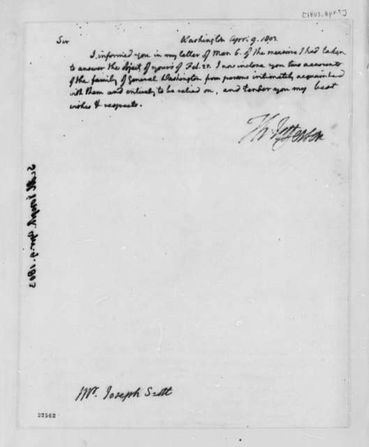 Thomas Jefferson to Joseph Scott, April 9, 1803