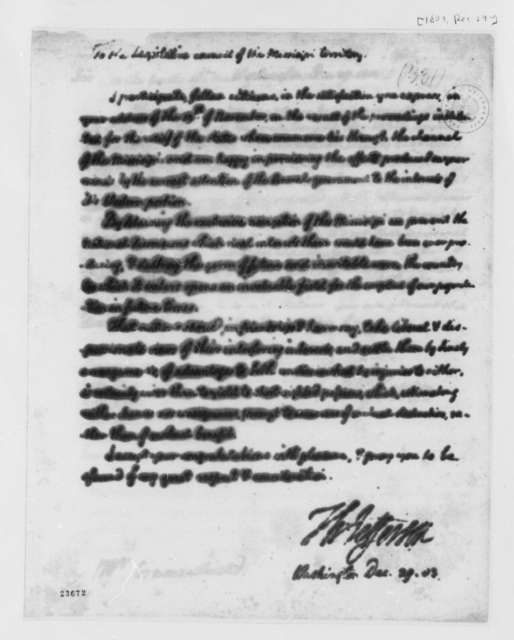 Thomas Jefferson to Legislative Council of Mississippi Territory, December 29, 1803