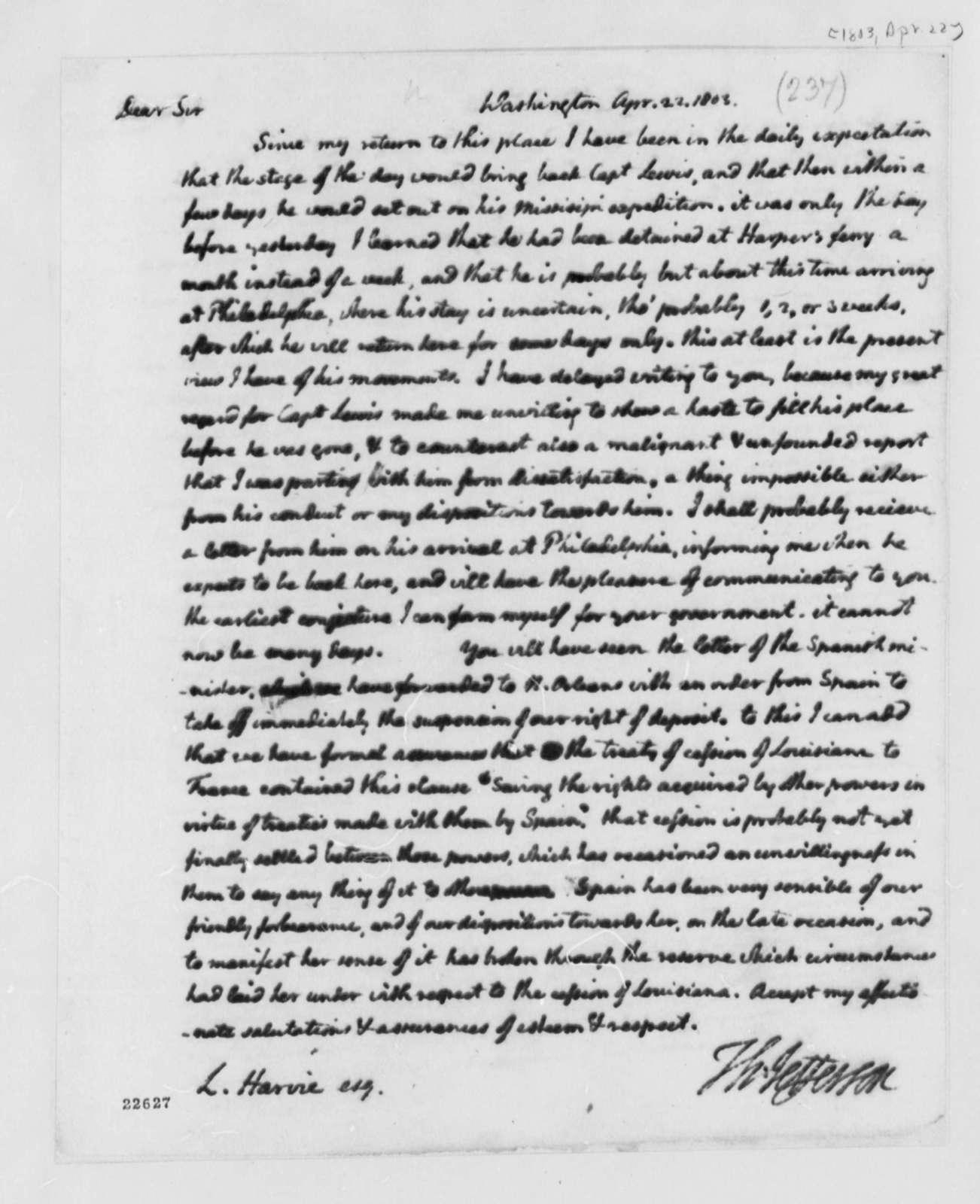 Thomas Jefferson to Lewis Harvie, April 22, 1803