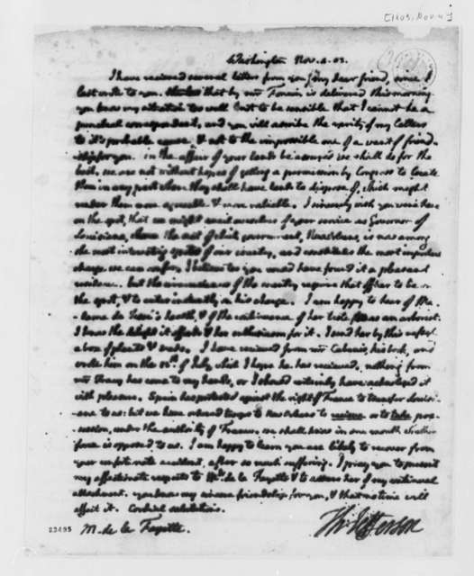 Thomas Jefferson to Marie Joseph Paul Yves Roch Gilbert du Motier, Marquis de Lafayette, November 4, 1803