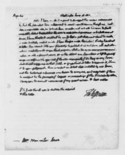 Thomas Jefferson to Meriwether Jones, June 18, 1803, with Statement
