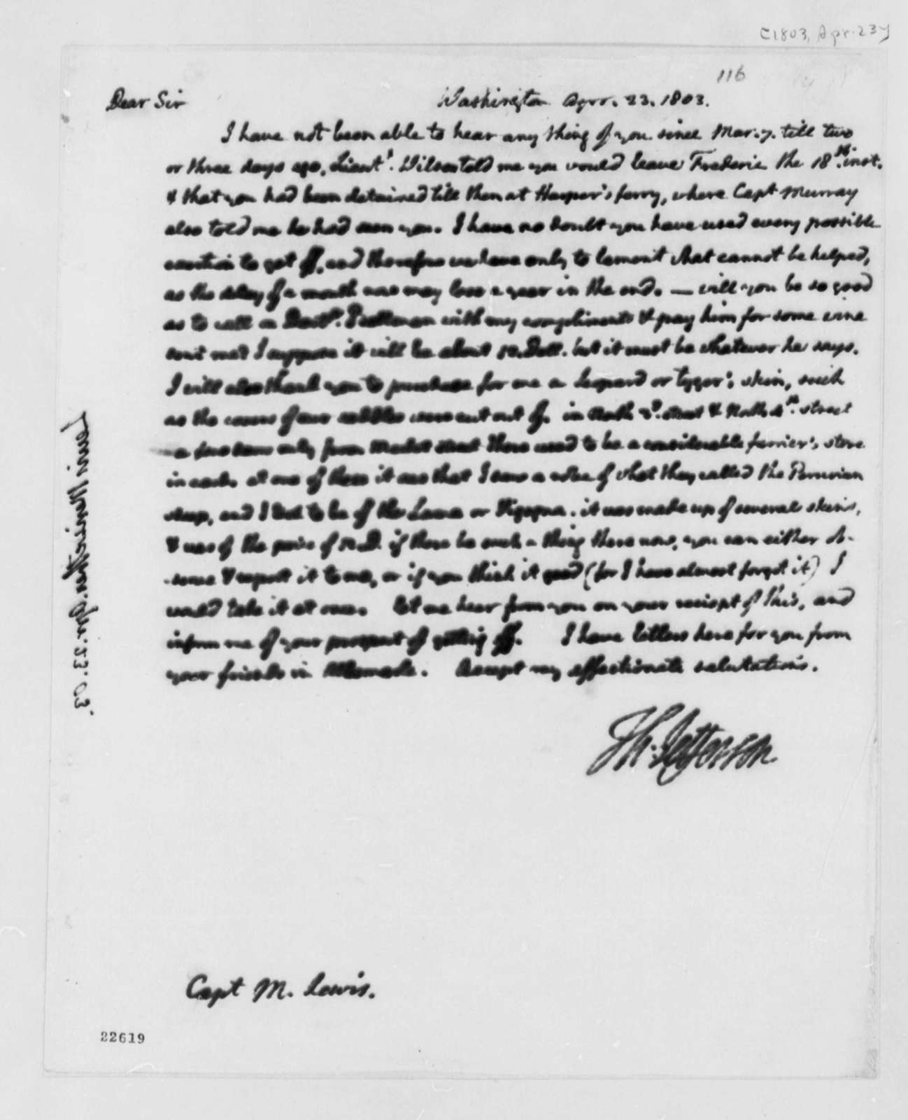 Thomas Jefferson to Meriwether Lewis, April 23, 1803