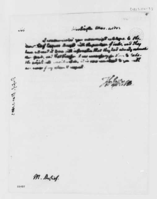 Thomas Jefferson to Nicholoas Gouin Dufief, March 1, 1803