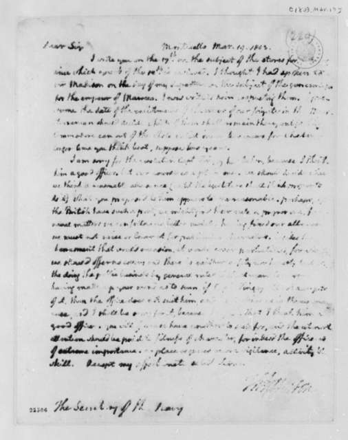 Thomas Jefferson to Robert Smith, March 19, 1803