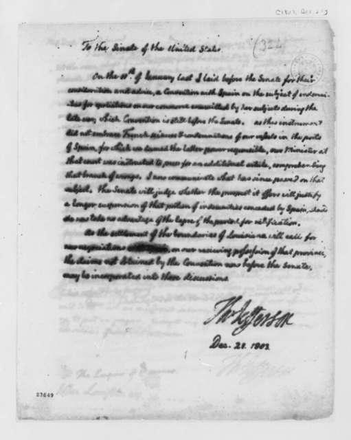 Thomas Jefferson to Senate, December 21, 1803