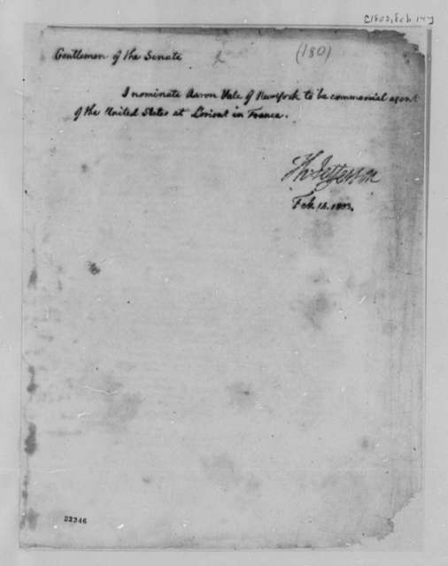 Thomas Jefferson to Senate, February 14, 1803