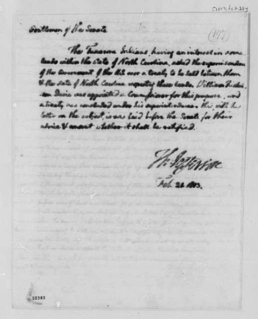 Thomas Jefferson to Senate, February 21, 1803