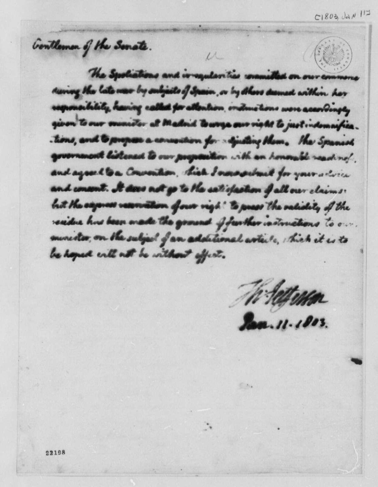 Thomas Jefferson to Senate, January 11, 1803