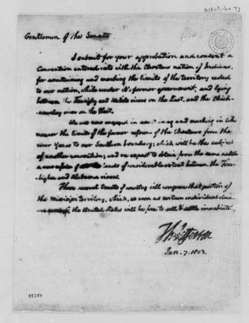 Thomas Jefferson to Senate, January 7, 1803