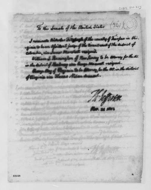 Thomas Jefferson to Senate, November 21, 1803