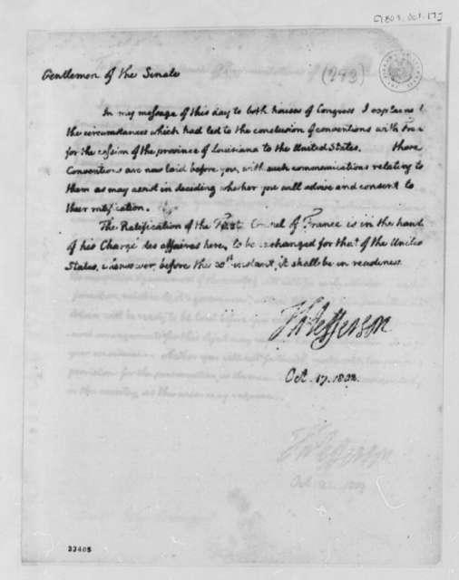 Thomas Jefferson to Senate, October 17, 1803