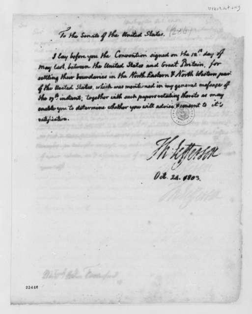 Thomas Jefferson to Senate, October 24, 1803