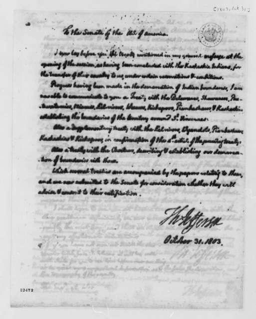 Thomas Jefferson to Senate, October 31, 1803