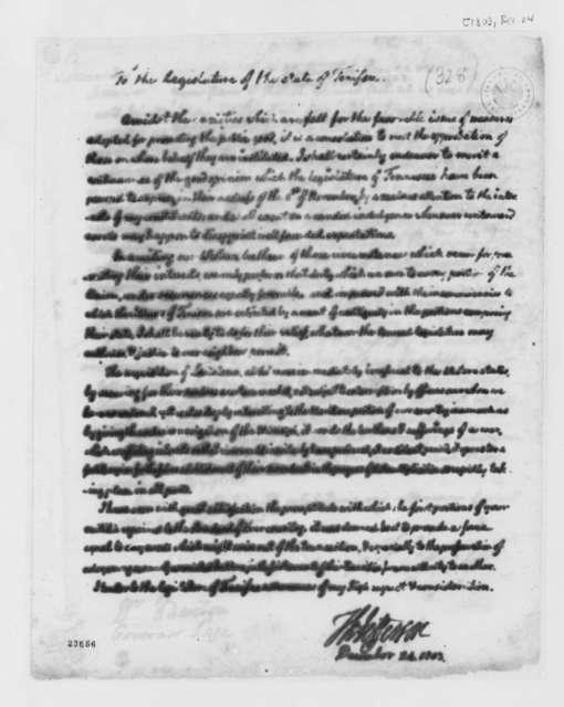 Thomas Jefferson to Tennessee Legislature, December 24, 1803