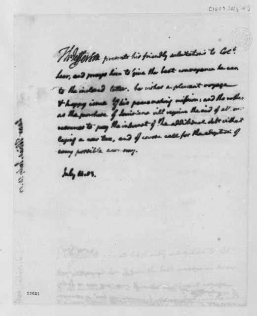 Thomas Jefferson to Thomas Lear, July 14, 1803