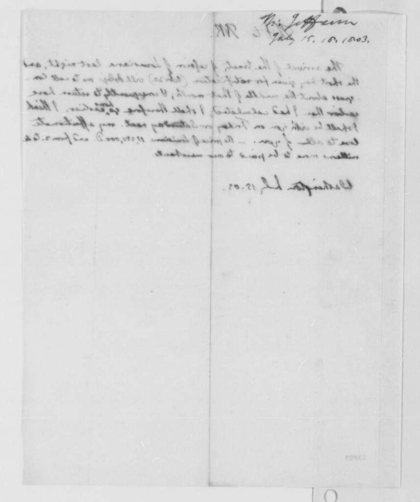 Thomas Jefferson to Thomas Mann Randolph, Jr., July 15, 1803
