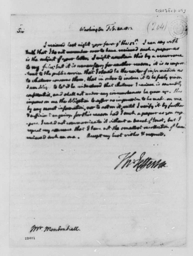 Thomas Jefferson to Thomas Mendenhall, February 25, 1803