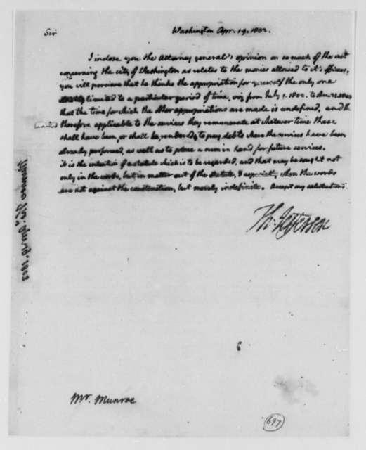 Thomas Jefferson to Thomas Munroe, Superintendent of the City, April 19, 1803