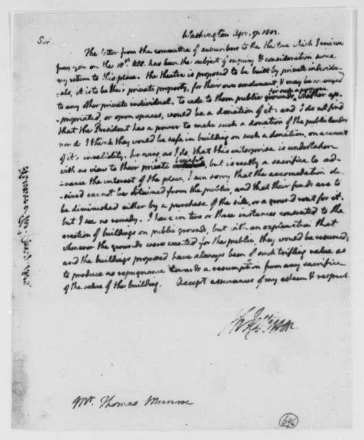 Thomas Jefferson to Thomas Munroe, Superintendent of the City, April 7, 1803